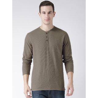 Club York Men's Brown Long Sleeve Henley Neck Self Design Tshirt