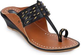 Picktoes Women's Black Wedges Heels