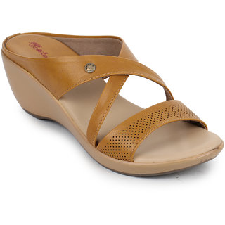 Picktoes Women's Tan Wedges Heels