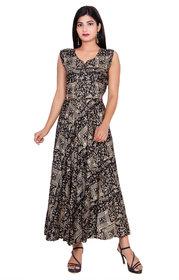 Dhruvi Western Wear Rayon Gold Print Long Maxi Dress in Free Size
