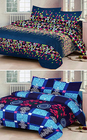 z decor polycotton double bed sheet, set of 2 with 4 pillow cover (dot,b.ch.)