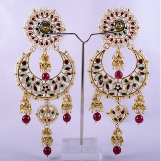 RPS TRADITIONAL GOLD PLATED KUNDAN JHUMKI EARINGS FOR WOMEN (RED)