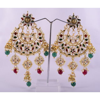 RPS TRADITIONAL GOLD PLATED KUNDAN JHUMKI EARINGS FOR WOMEN (RED-SEA-GREEN)
