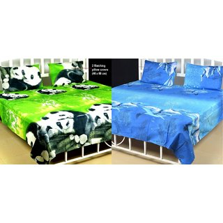 3D Printed Poly Cotton Double Bed Sheet With 2 Pillow Covers - Set Of 2