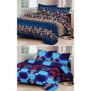 Z Decor Multicolor Polycotton Double Bed Sheet, Set Of 2 With 4 Pillow Cover (dot,b.ch.)