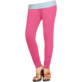 Naisargee Women's and Girl's Baby Pink Silk Chudidar Length Leggings -(XL Size)