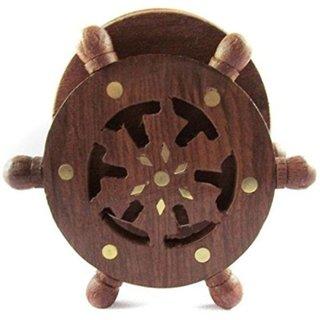 Desi Karigar Wooden Coaster Set Designed In Ship Wheel ( Brown)