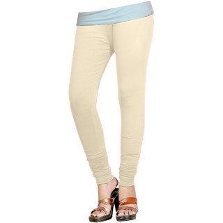 Naisargee Women's and Girl's Cream Silk Chudidar Length Leggings -(XL Size)
