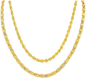 Xoonic Gold Plated Chain Combo , set of 2 Brass Chains 26 Inches Long