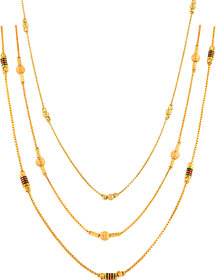 Xoonic Gold Plated Chain Combo , set of 3 Brass Chains 26 Inches Long