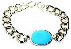 Dashing Salman Khan blue stone stylish Mens Bracelet in White metal By GoldNera