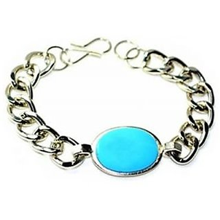 Dashing Salman Khan blue stone stylish Mens Bracelet in White metal By GoldNera