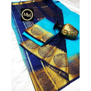 Raw silk saree with contrast bahubali  elephant border , contrast chit pallu and contrast blouse Sky Blue with Blue