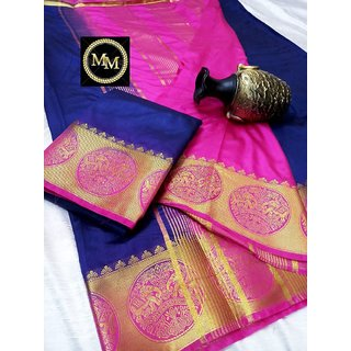 Raw silk saree with contrast bahubali  elephant border , contrast chit pallu and contrast blouse Blue with Pink