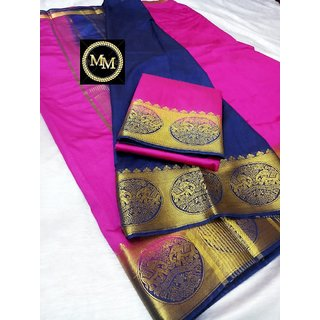 Raw silk saree with contrast bahubali  elephant border , contrast chit pallu and contrast blouse Pink with Blue