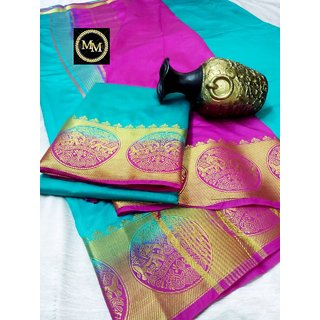 Raw silk saree with contrast bahubali  elephant border , contrast chit pallu and contrast blouse Sky Blue with Pink