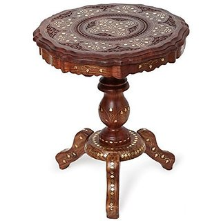 Shilpi Sheesham Wooden Brass Inlay Work Foldable Round Shape Coffee Table