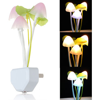 Emm Emm Imported Mushroom Night Lamp with Sensor Technology (Just Plug in and Forget it, Glows Automatically When Light are off)