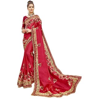 5c75444928f Buy Triveni Red Chanderi Silk Party Wear Heavy Embroidered Saree ...