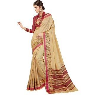 Triveni Beige Banarasi Silk Festival Wear Viscose Design Saree