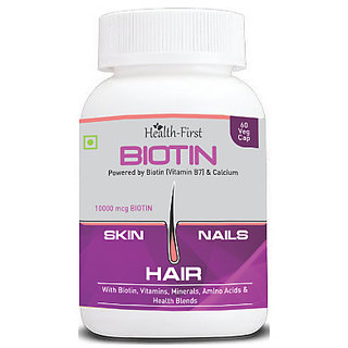 Health first Biotin Maximum Strength in market 60 Veg Capsule 10,000 mcg (60)
