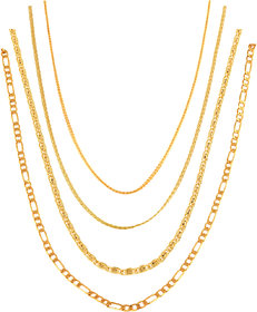 Xoonic Gold Plated Chain Combo , set of 4 Brass Chains 26 Inches Long
