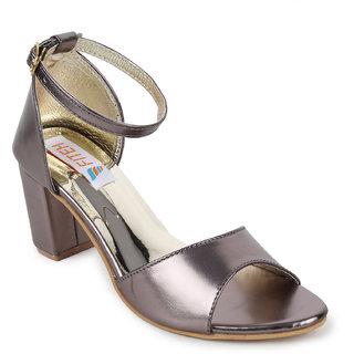 Fiteh Women's Grey Block Heels