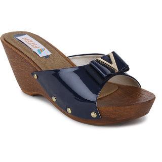 Fiteh Women's Blue Wedges Heels