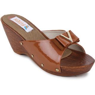 Fiteh Women's Brown Wedges Heels