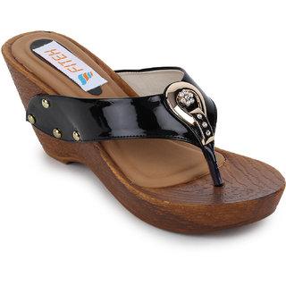 Fiteh Women's Black Wedges Heels