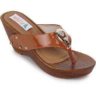 Fiteh Women's Tan Wedges Heels