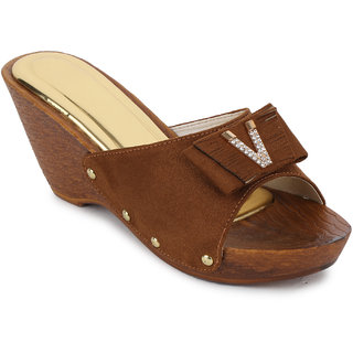 Fiteh Women's Brown Wedges Heels