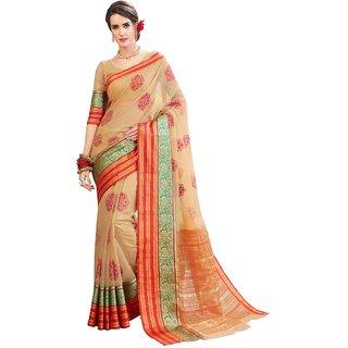 Aagaman Beige Cotton Silk Festival Wear Embroidered Saree