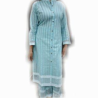 Black Cotton Stitched Kurti by Purvahi