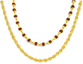 Combo of Gold Plated Rope chain and Gold plated Rudraksha Mala both 26 inch Long