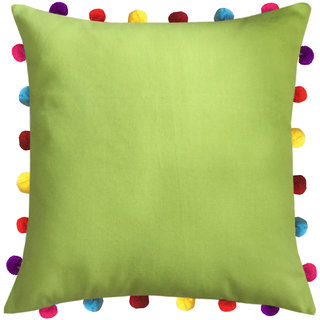 Lushomes Palm Cushion Cover with Colorful Pom pom (Single pc, 18 x 18)