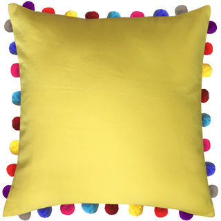 Lushomes Lemon Chrome Cushion Cover with Colorful Pom poms (Single pc, 24 x 24)