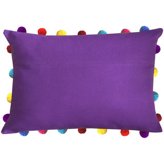 Lushomes Royal Lilac Cushion Cover with Colorful Pom poms  (Single pc, 14 x 20)