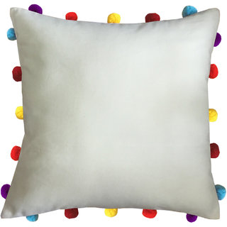 Lushomes Ecru Cushion Cover with Colorful pom poms (Single pc, 16 x 16)