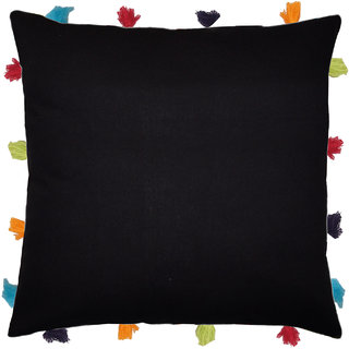 Lushomes Pirate Black Cushion Cover with Colorful tassels (Single pc, 14 x 14)