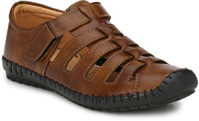 Shoe Rider Men's Tan Synthetic Slip On Casual Sandals