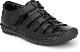 Shoe Rider Men's Black Synthetic Slip On Casual Sandals