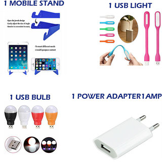 Combo of 4 in 1 Mobile Accessories Daily Use Products (1 mobile stand + 1USB Light + 1 USB Bulb + 1 Power Adapter)