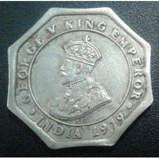 BRITISH INDIA 4 ANNAS YEAR 1919 GEORGE-V KING RARE COIN