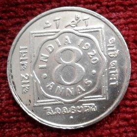 BRITISH INDIA 8 ANNAS YEAR 1920 GEORGE-V KING RARE COIN