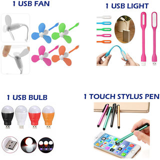 Combo of 4 in 1 Mobile Accessories Daily Use Products (1 USB Fan + 1USB Light + 1 USB Bulb + 1 Touch stylus pen)