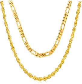 Xoonic Gold Plated Men's Chain Combo 22 Inches Brass Cahin