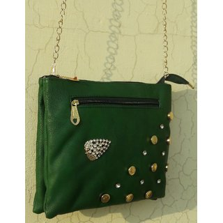 Women's Stylish Green Skin Pattern Fashion Cross Body Shoulder Sling Bag With Chain - Color