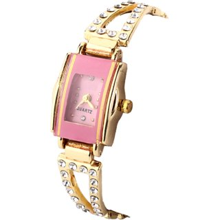 Fashion Jewelry Pink Square Watches for Women and Girls