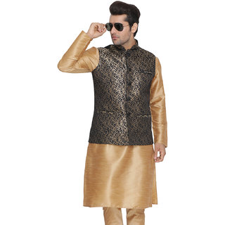 Vastramay Men Black Cotton Silk Modi Nehru Jacket